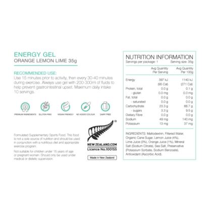 PURE ENERGY GELS 35G ORANGE LEMON LIME nutritional info