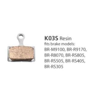 SHIMANO BRAKE PADS RESIN & SPRING K03S - ROAD DISC BRAKE FITS BR-M9100