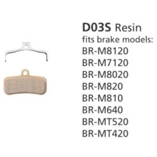 SHIMANO DISC BRAKE PADS BR-M8120 D03S RESIN 4 PISTON NO FIN SAINT/ZEE/DEORE XT
